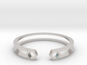 HH Bracelet Sharp, Medium Size, 65mm. Minimalistic in Rhodium Plated Brass: Medium