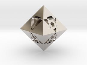 Optical Art D8 Dice in Rhodium Plated Brass