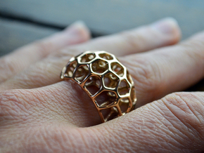 Voronoi Cell Ring II  (Size 54) in 14k Rose Gold Plated