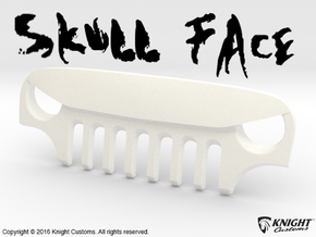 AJ40010 Skull Face Grill ONLY in White Strong & Flexible Polished