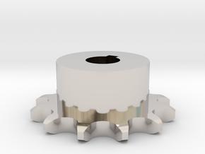 Pignone Per Catena Semplice ISO 04B-1 P6 Z12 in Rhodium Plated Brass