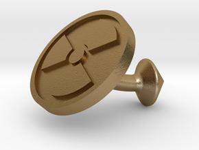 SINGLE Cufflink for NUKE - Nuclear Hazard in Polished Gold Steel
