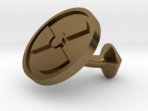 SINGLE Cufflink for NUKE - Nuclear Hazard in Polished Bronze