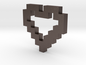 Pixel Heart Pendant in Natural Silver