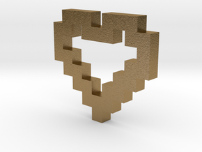Pixel Heart Pendant in Polished Gold Steel