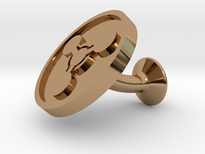 SINGLE Cufflink for CHEM - Chemical Hazard in Polished Brass