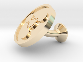 SINGLE Cufflink for CHEM - Chemical Hazard in 14k Gold Plated Brass