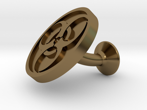 SINGLE Cufflink for BIO - Biological Hazard in Polished Bronze