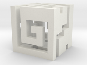 Nuva Cube Hollowed out in White Natural Versatile Plastic