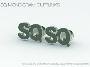 Monogram Cufflinks SQ in Polished Silver