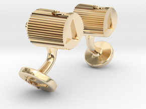 Spray Cap Cufflinks in 14k Gold Plated Brass