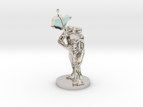 Frog Warrior for Dungeons and Dragons in Rhodium Plated Brass