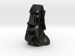 Moai Single Flower Vase - Porcelain in Gloss Black Porcelain