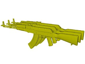 1/24 scale Avtomat Kalashnikova AK-47 rifles x 3 in Smooth Fine Detail Plastic