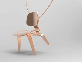 Eames Style Chair Necklace in 14k Rose Gold Plated Brass