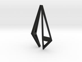 HIDDEN HEART Origami Structure, Pendant  in Black Natural Versatile Plastic