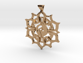 Maya Lotus Pendant in Polished Brass