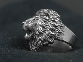 Aggressive Lion Ring in Polished Silver: 11.5 / 65.25
