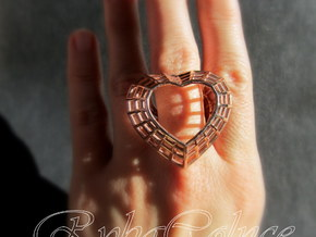 The Heart Diamond Ring/size 9US (19 mm diameter) in 14k Rose Gold Plated Brass