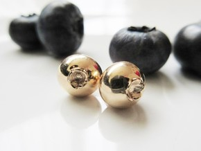 Delicious Blueberry Fruit Earrings in Polished Bronze