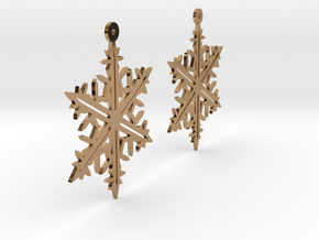 Snowflake Earring Model B in Polished Brass