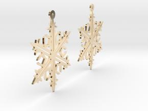 Snowflake Earring Model B in 14k Gold Plated Brass