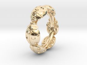 Hidden Heart Ladybug Leaves of Grass Eternity Ring in 14k Gold Plated Brass