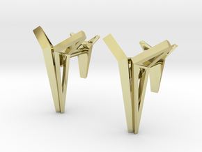 YOUNIVERSAL Origami Structure, Cufflinks in 18k Gold Plated Brass