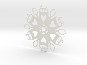 Coffee & Spoon Snowflake Ornament in White Natural Versatile Plastic