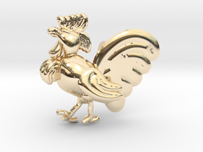 Rooster-Zodiac Pendant in 14k Gold Plated Brass