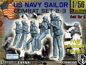 1-56 US Navy Sailors Combat SET 2-3 in Smooth Fine Detail Plastic