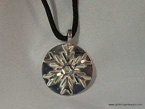 Snowflake Pendant (with base) in Polished Silver
