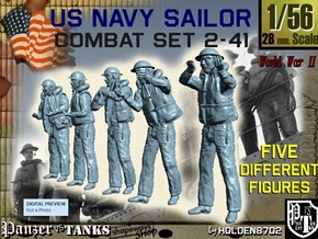 1-56 US Navy Sailors Combat SET 2-41 in Smooth Fine Detail Plastic