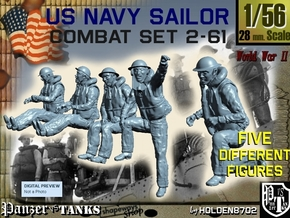 1-56 US Navy Sailors Combat SET 2-61 in Smooth Fine Detail Plastic