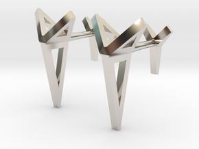 YOUNIVERSAL Origami 3T Cufflinks. Sharp Chic in Rhodium Plated Brass