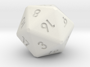 20-sided die (d20) in White Natural Versatile Plastic