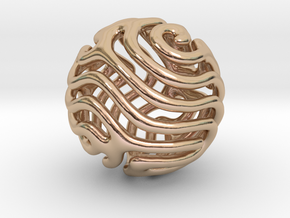 Reaction diffusion Pendant/Earring in 14k Rose Gold Plated Brass
