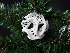 Minimal Surface Christmas Bauble in White Strong & Flexible