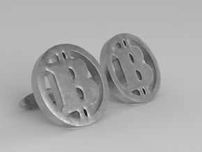 "2 Bitcoin cufflinks ""short"" in Polished Bronzed Silver Steel"