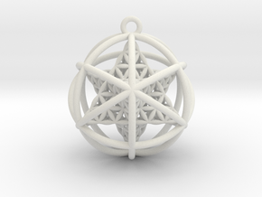 Flower of Life Planetary Merkaba in White Natural Versatile Plastic