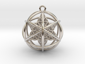 Flower of Life Planetary Merkaba in Rhodium Plated Brass