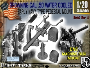 1-20 USN Cal 50 M2 WC Swan Neck Mount in Smooth Fine Detail Plastic