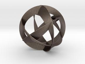 0404 Spherical Cuboctahedron (d=12cm) #005 in Polished Bronzed Silver Steel