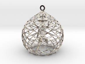 Ornament - Mountain Block in Rhodium Plated Brass