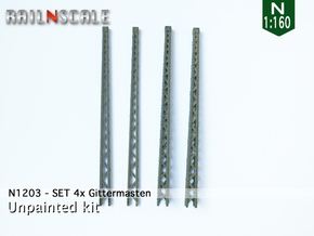 SET 4x Gittermasten (N 1:160) in Smooth Fine Detail Plastic