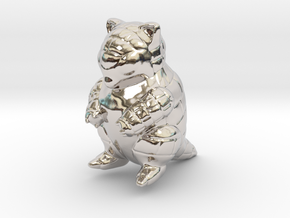 Sandshrew in Rhodium Plated Brass