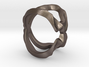 Mind generated ring - my idea of love in Polished Bronzed Silver Steel: Small