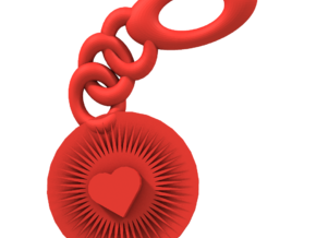 Bright Heart Key Chain in Red Processed Versatile Plastic