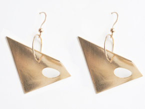 Hypar Earrings in Raw Brass