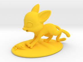 Cat Playing with Toy Mouse  in Yellow Processed Versatile Plastic
